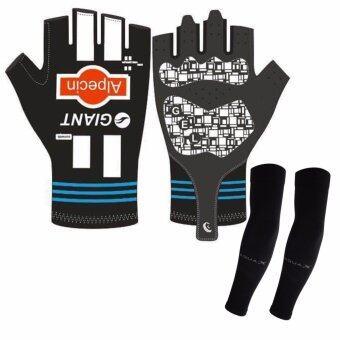 LEE BICYCLE ถุงมือเจลแบบเต็มข้อมือ GIANT+ AQUA-X ปลอกแขนกันแดด กันยูวี (สีดำ) - free size