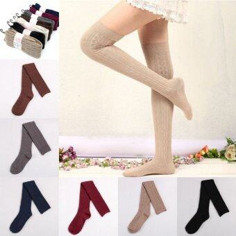 Harga Fashion Women Knit Cotton Over Knee Thigh Stockings Pantyhose Tights High Socks Light Gray