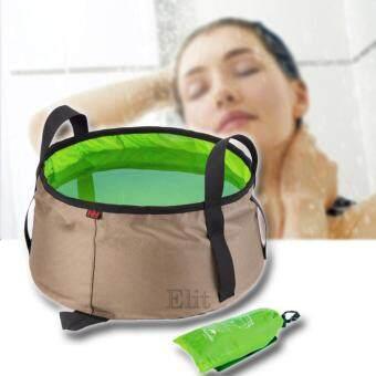 Elit ถุงใส่น้ำแบบพกพาพับเก็บได้ ขนาดบรรจุ 10 ลิตร (สีเขียว) 10L Portable Bucket (Green)
