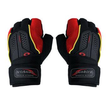 Elit ถุงมือ ฟิตเนส ยกน้ำหนัก มีสายรัดข้อ fitness weight lifting gloves (Red)