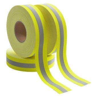 REFLEX แถบผ้าสะท้อนแสงกันไฟ แถบฟลูออเรสเซนต์สีเหลือง-มะนาว 2 นิ้ว 5 เมตร