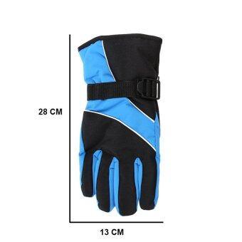 2559 คุณภาพสูงถุงมือสกีกีฬากลางแจ้งเขาหนาวกันน้ำอุ่น windproof สกีสโนว์บอร์ดใต้ศูนย์การขี่จักรยานถุงมือ (สีฟ้าไพลิน)