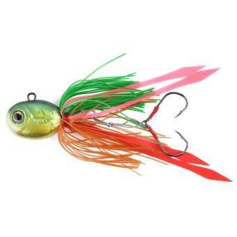 Harga Fishing Lure Squid Head With Silicone Skirt Saltwater Fishing Hooks (Dark green) - intl