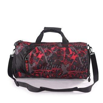 ความจุห้องออกกำลังกาย VENDOOR unisexl กระเป๋าเป้กระเป๋าไนลอนท่องเที่ยวตายกระเป๋าถือ (สีแดง)-ระหว่างประเทศ