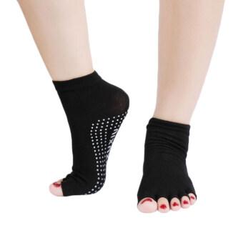 ครึ่งหนึ่งของ Oem โยคะถุงเท้ากันลื่นข้อเท้าห้านิ้วออกกำลังกายคอตตอน ชุด 2 (สีดำ)