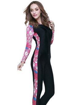 ครบชุดว่ายน้ำตื้นดำน้ำแบบสนอร์เกิลสตรีสูทชุดว่ายน้ำแบบเปียกแขนเสื้อสูท-สีดำ