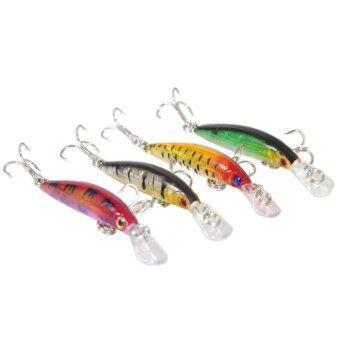 จำนวน 4 ชุดเหยื่อตกปลากะพงปลาพลาสติก Crankbaits 7ซม/2.76นิ้ว 3.9กรัม