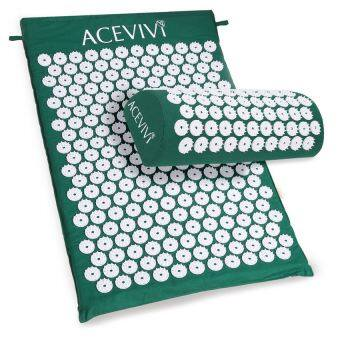 Harga V SHOW Cyber Acupressure Mat Relieve Stress Pain AcupunctureSpikeYoga Mat With Pillow (Green) - intl