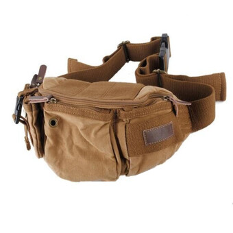 แฟชั่นผู้ชายกระเป๋าสะพายผ้าใบกีฬากลางแจ้งแพ็คหน้าอกเอวกระเป๋าสะพายถุง (กากี)