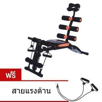 Six Pack Care เครื่องบริหารหน้าท้อง เครื่องซิทอัพ เก้าอี้ซิทอัพ สปริง 6 เส้น Sit Up Bench (สีดำ/สีส้ม)