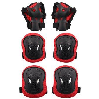 Harga 6PCS Adult Protective Gear Safety Knee Elbow Wrist Pads (Red)