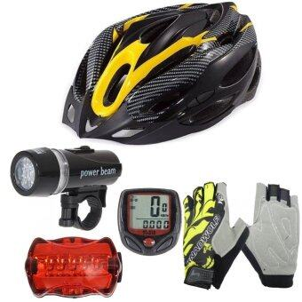 Morning หมวกจักรยาน H-18 (สีเหลือง)+ไมค์ Sunding สีแดง + ชุดไฟจักรยาน YU Dong + ถุงมือฟรีไซด์ สีเหลือง