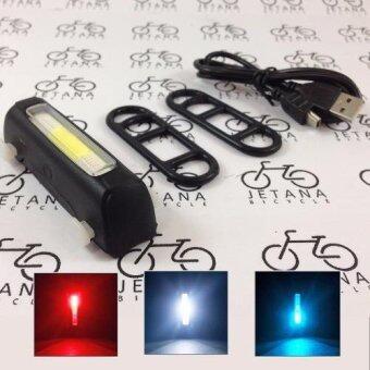 Jetana Comet ไฟท้ายจักรยาน 3 สี แดง ขาว น้ำเงิน LED 120 Lumensชาร์จ USB กันน้ำ