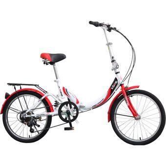 K-BIKE จักรยานพับได้ FOLDING BIKE 20 นิ้ว เกียร์ 6 Speed รุ่น20TC601 (New Design) แดง/ขาว