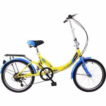K-BIKE จักรยานพับได้ FOLDING BIKE 20 นิ้ว เกียร์ 6 Speed รุ่น20TC601 (New Design) เหลือง/น้ำเงิน