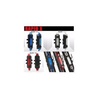 ไฟจักรยาน ไฟสัญญาน LED สีน้ำเงิน ชาร์จ USB กันน้ำ