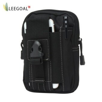 leegoal Multifunction Tactical Molle Pouch EDC Utility Gadget Belt Waist Bag With Cell Phone Holster Holder For Running Hiking Sporting - Black