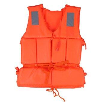 Life Vest Swimming Boating Beach Outdoor Survival Aid Safety JacketWith Whistle Adult (Orange) - intl