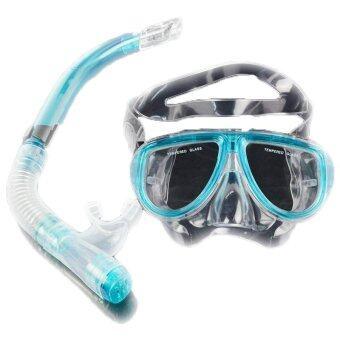 อุปกรณ์ดำน้ำหน้ากากดำน้ำLinemart+แห้งเครื่องสน็อร์กเกิลดำน้ำสคูบ้าเซ็ตชุด (สีน้ำเงิน)