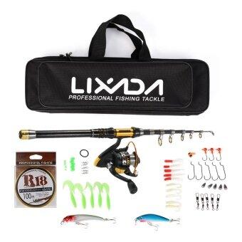 Lixada Telescopic Fishing Rod and Reel Combo Full Kit SpinningFishing Reel Gear Organizer Pole Set -