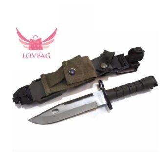 LOVBAG มีดเดินป่าติดปลายปืนซองเก็บมีด ABS ร้อยเข็มขัดสนามได้ (สำหรับใช้งานจริง)