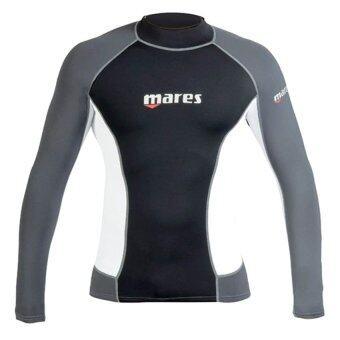 Mares Men's Trilastic Watersports Rash Vest / Long Sleeve - Black/White