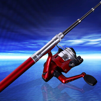 MermaidKnight Mini Telescopic Ice Fishing Rod 96cm PortableAluminum Alloy Pen Fish Spinning Rod Pole (Red