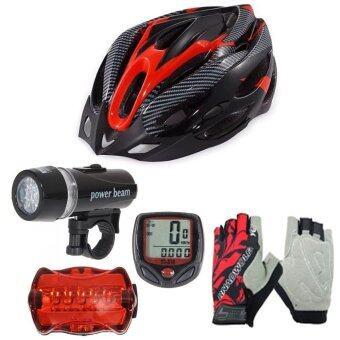 Morning หมวกจักรยาน H-18 (สีแดง)+ไมค์ Sunding สีแดง + ชุดไฟจักรยานYU Dong + ถุงมือฟรีไซด์ สีแดง