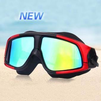Mosha Fashions แว่นตาว่ายน้ำ ขอบใหญ่ เลนส์กว้าง กันแสง UV (สีดำแดง)รหัส SWO5-05