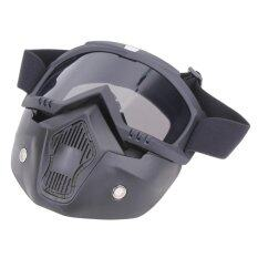 Motorcycle Goggles Detachable Harley Protect Padding Full Mask(Silver) - intl