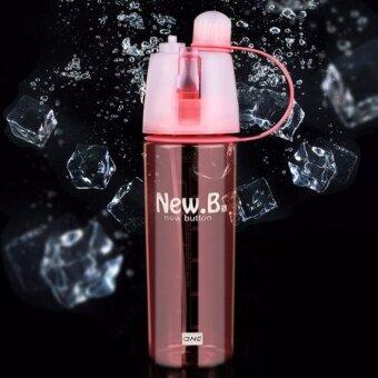 กระติกน้ำ น้ำร้อน น้ำเย็น น้ำอุ่น ขวดสเปรย์น้ำเย็น ขวดชีดน้ำได้ สำหลับพกพา ออกกำลังกายNew.B 600ML New Creative Spray Water Bottle Portable Atomizing Bottles Outdoor Sports Gym Drinking Drinkware Bottles Shaker