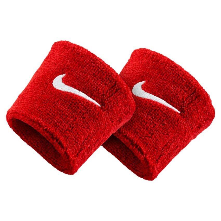 NIKE ผ้ารัด ข้อมือ วิ่ง ไนกี้ Running Swoosh Wrist bands 04601 (350) Red 1 คู่