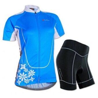 ชุดขี่จักรยานแขนสั้นขาสั้น ผู้หญิง NUCKILY Team (Blue)