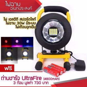 Ourdoor Lighting 30W LED Wide Floodlight Spotlight ไฟฉาย อเนกประสงค์ ไฟฉายเอลอีดี ระบบชาร์จแบต ไฟฉายฉุกเฉิน ทรงกลม น้ำหนักเบา มีระบบ ไฟเตือนฉุกเฉิน สีแดง สีน้ำเงิน สำหรับแค้มปิ้ง ปีนเขา เดินป่า สีเหลืองดำ + ถ่านชาร์จ