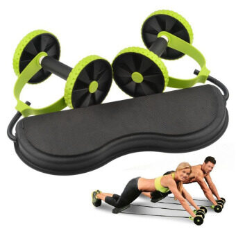 PAlight Core Double Wheels Ab Roller Pull Rope Abdominal Waist Slimming Exercise Equipment - intl