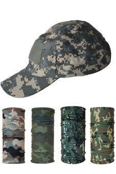 Parbuf SET หมวกทหาร + ผ้าอเนกประสงค์ ป้องกัน UV 4 ผืน NAVY DIGITALBASEBALL CAP CAMO SET 1 - Multicolor
