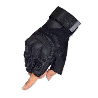 PARBUF ถุงมือ สนับมือ ครึ่งนิ้ว ถุงมือฟิตเนส จักรยาน ถุงมือขับรถSIZE M G.025 สีดำ