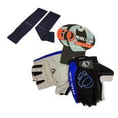 ถุงมือ PEARL IZUMI (สีดำ-น้ำเงิน) + AQUA-X ปลอกแขนกันแดด กันยูวี (สีดำ) - free size