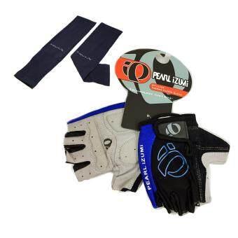 ถุงมือ PEARL IZUMI (สีดำ-น้ำเงิน) + AQUA-X ปลอกแขนกันแดด กันยูวี(สีดำ) - free size