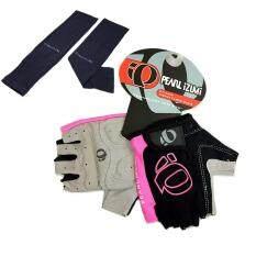 ถุงมือ PEARL IZUMI (สีดำ-ชมพู) + AQUA-X ปลอกแขนกันแดด กันยูวี (สีดำ) - free size