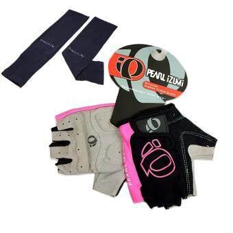 ถุงมือ PEARL IZUMI (สีดำ-ชมพู) + AQUA-X ปลอกแขนกันแดด กันยูวี(สีดำ) - free size