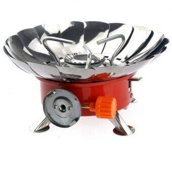 ราคา Portable Folding Lotus Style Windproof Camping Stove Butane Gas Stove เตาแก๊สพกพาเดินป่าแคมป์ปิ้ง