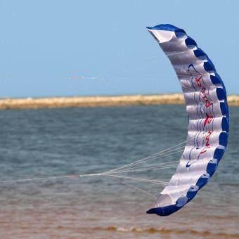 ว่าว Power Stunt Kite บังคับสองมือ สำหรับฝึกบิน ขนาด 1.4 เมตรพร้อมเชือกและกระเป๋าเก็บ (แดง/น้ำเงิน)