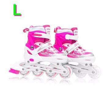 รองเท้าอินไลน์สเก็ต Premium Inline Skate BRAMAN Aluminium Tracks & ABEC-7 Wheels with Lights 0415C Warranty 1 Year. เบอร์ 34-36 (Pink #L)
