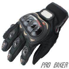 PRO BIKER ถุงมือมอไซร์เต็มนิ้ว ขับขี่รถมอเตอร์ไซด์ และจักรยาน รุ่นยอดนิยม Free size(สีดำ)