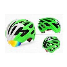 PRO TEAM WT-049 หมวกจักรยานอินโมล์ด พร้อมแว่นในตัว และมีตาข่ายกันแมลง สีเขียว