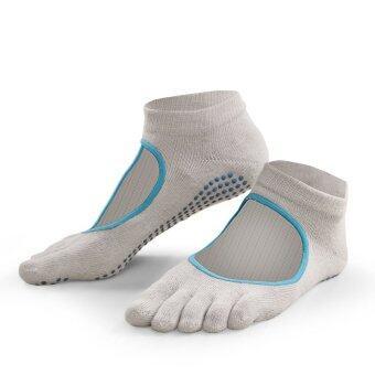 ราคา ถุงเท้าโยคะ (สีเทาอ่อน/ฟ้า)