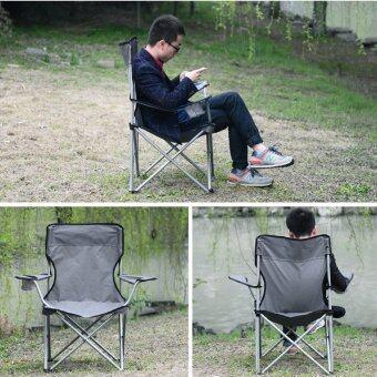 เก้าอี้สนามขนาดใหญ่ พับเก็บได้ มีที่วางแขน สีน้ำเงิน - 3