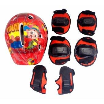 Protect ชุดป้องกัน หมวกสเก็ต หมวกสเก็ตบอร์ด จักรยาน พร้อมสนับป้องกัน เข่า ศอก มือ ชุดป้องกันเด็ก [สีแดง]