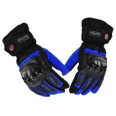 PYM ถุงมือข้อยาวใส่ขับรถมอเตอร์ไซค์กันน้ำได้ สำหรับชาวไบเกอร์ สีน้ำเงิน Size XL จำนวน 1 คู่